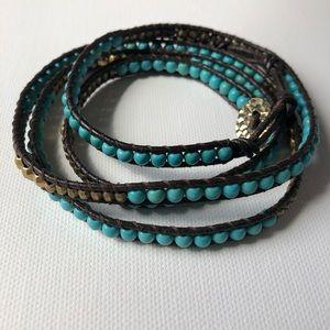 Nakamol Leather Wrap bracelet Turquoise stones